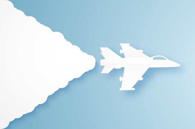 Avion de chasse volant dans le ciel, style art papier