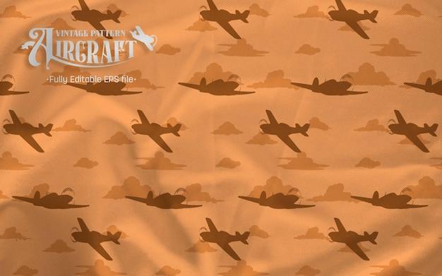 Avion Combattant Vintage Siluet Motif Sur Fond Marron Vecteur Premium