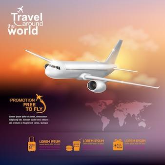 Avion concept voyage autour du monde