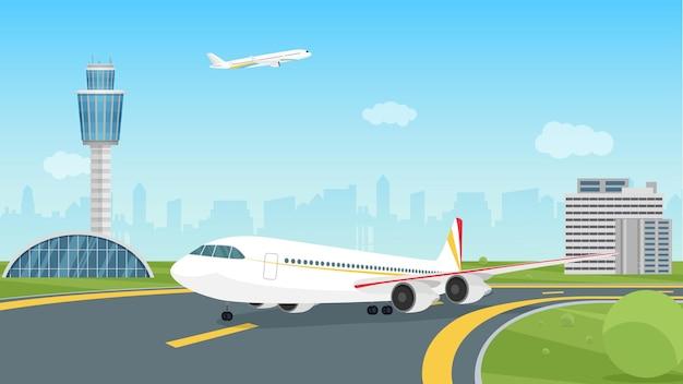 Avion décollant de l'aérodrome de paysage de décollage d'avions de passagers de piste d'aéroport
