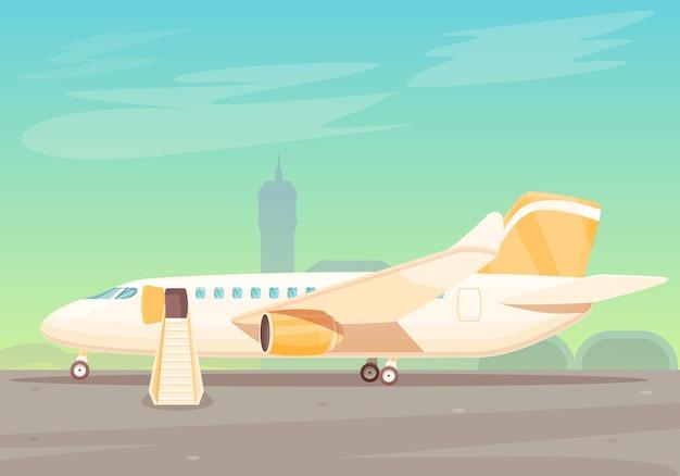 Avion de dessin animé avec des escaliers en attente d'embarquement à l'aéroport