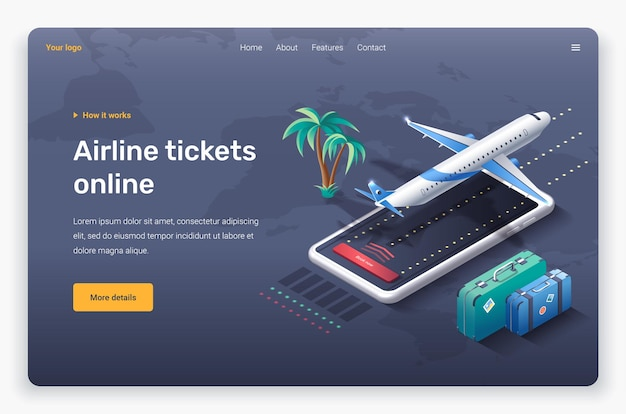 Avion isométrique, téléphone, paume et valises. modèle de page de destination.