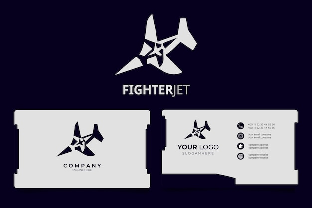 Avion jet concept minimaliste logo moderne avec carte de visite