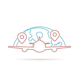 Avion de ligne mince comme le voyage. concept de voyage, avion, décollage de dirigeable, tourisme, étiquette de voyage. plat, style linéaire, tendance, moderne, logotype, conception graphique, vecteur, illustration, blanc, fond