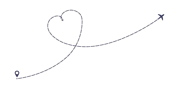 Avion ligne pointillée chemin plat style design vector illustration isolé sur fond blanc
