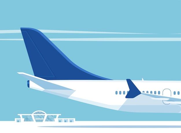 Avion de ligne à réaction et bâtiment de l'aéroport. illustration.