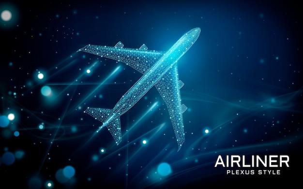 Avion de ligne volant vers le ciel, style plexus avec des lignes et des points composés comme outil de transport