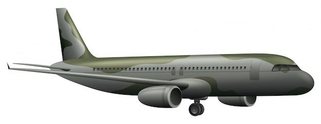 Avion militaire sur fond blanc