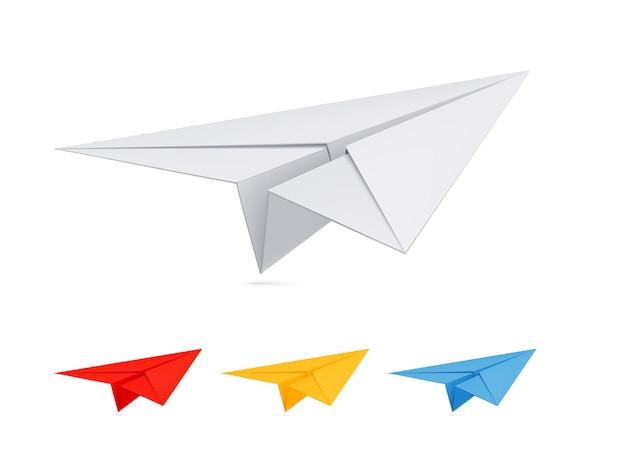 Avion en papier en 3 couleurs différentes