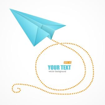 Avion en papier bleu et zone de texte isolé sur fond blanc.