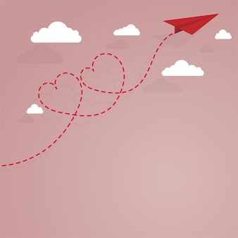 Avion en papier et cœur rayé en pointillés