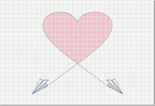 Avion en papier origami sur la feuille de cahier