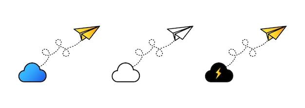 Avion en papier volant et jeu d'icônes de nuage. vecteur eps 10. isolé sur fond blanc.