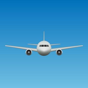Avion réaliste vue de face isolée