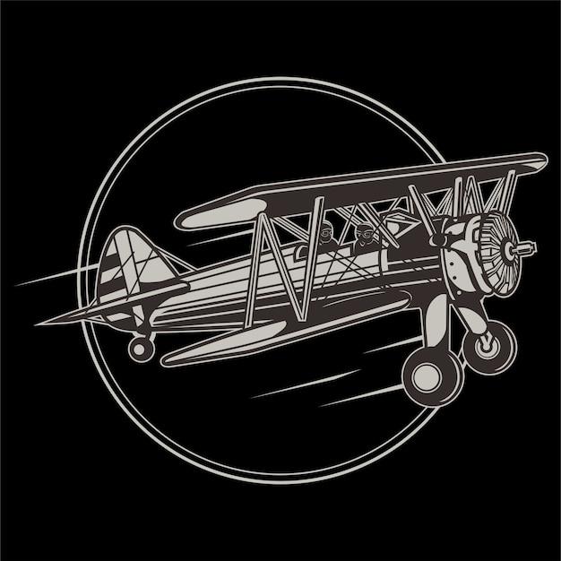 Avion rétro vintage. main de vecteur esquissée illustration de l'aviation dans le style de gravure pour affiche, carte, etc.