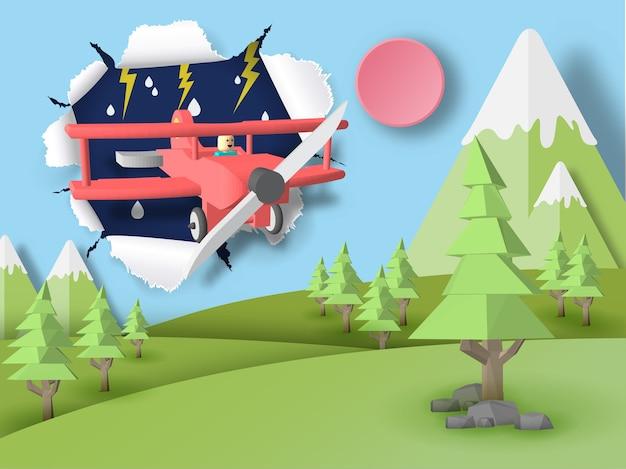Avion rouge volant à travers la tempête et aller à la forêt