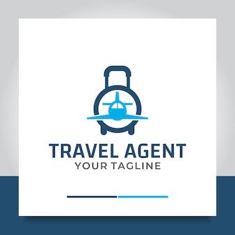 Avion de sac de conception de logo de voyage
