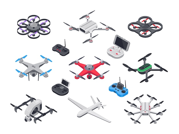 Avion sans pilote, drone de livraison à hélices, caméra et contrôleur informatique.