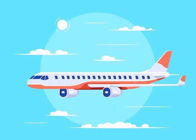 Avion survolant les nuages, plat