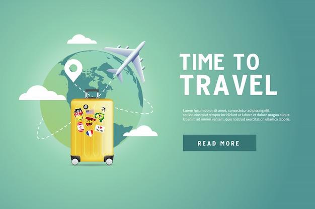 Avion volant autour du monde avec un bagage jaune.