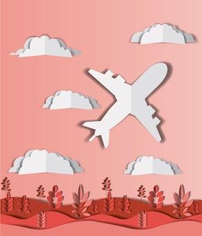 Avion volant avec nuages et paysage