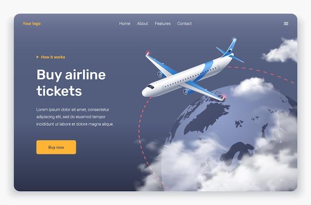 Avion volant isométrique et nuages au-dessus de la terre. modèle de page de destination.