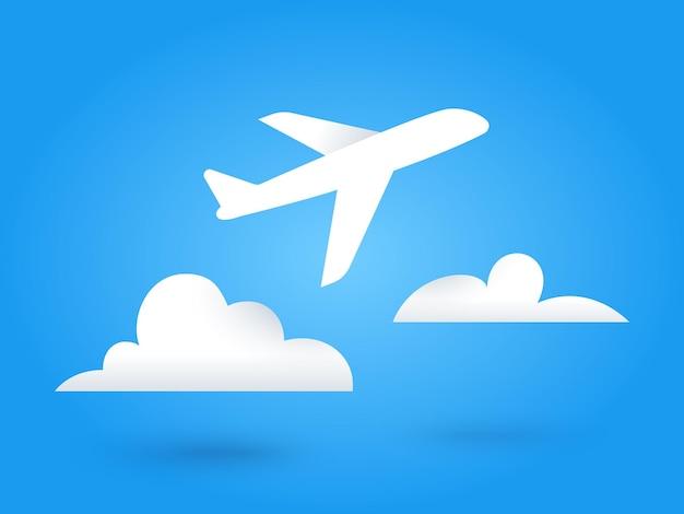 Avion volant en papier et nuages. fond de voyage ciel bleu. icônes plates de découpe. illustration vectorielle.