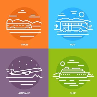 Avion volant. train. autobus. navire.