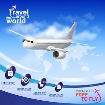 Avion voyage autour de la bannière du monde