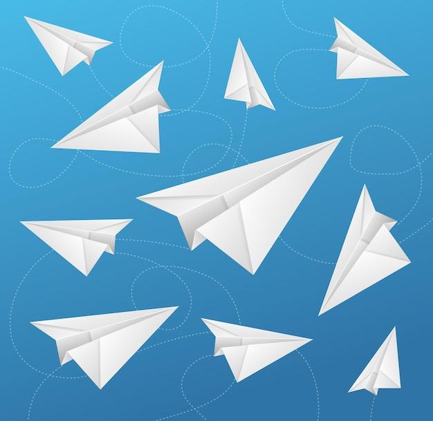 Les avions en papier volent sur le symbole de voyage et de transport de fond bleu. illustration vectorielle