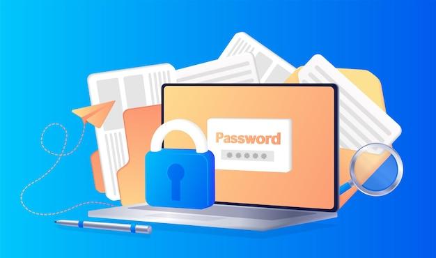 Avis d'accès à la connexion sécurisée par mot de passe ou icône de bulle de message de note de code de vérification d'authentification