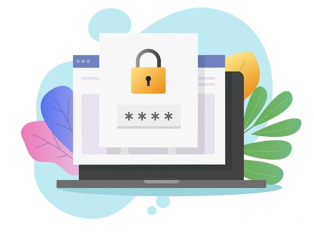 Avis d'accès à la sécurité par mot de passe du site web sur un ordinateur portable