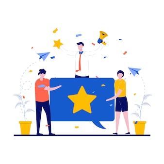 Avis clients et concepts de rétroaction avec caractère. évaluation des clients avec de grands discours à bulles.