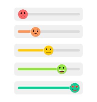 Avis des clients. retour d'information. échelle de notation. émoticônes.