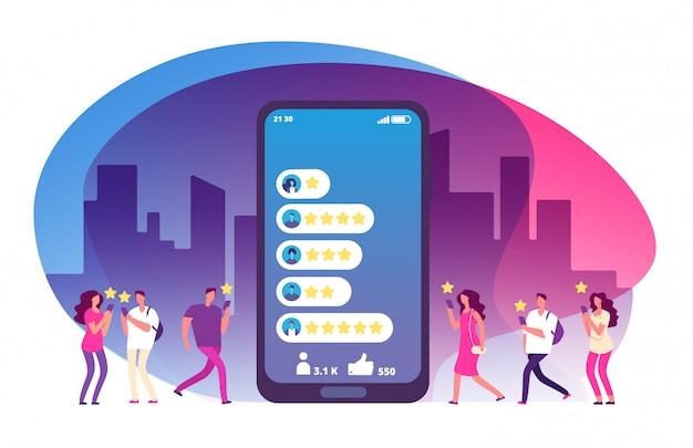 Avis et rétroaction des clients. cinq étoiles sur l'écran du smartphone et les clients.