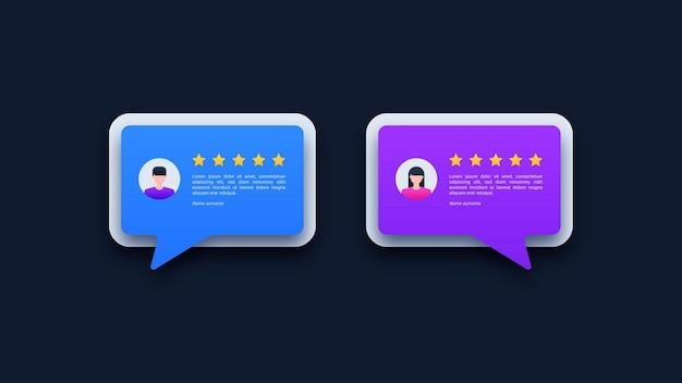 Avis d'utilisateurs et bulles de commentaires