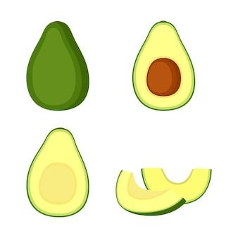 Avocat, fruit entier, moitié et tranches, illustration vectorielle