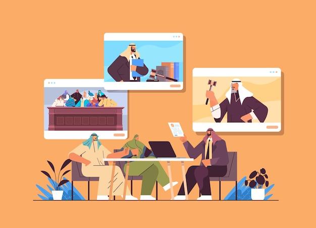 Un avocat ou un juge arabe consulte pour discuter avec les clients lors de la réunion du service de conseil juridique et juridique concept de consultation en ligne illustration vectorielle horizontale