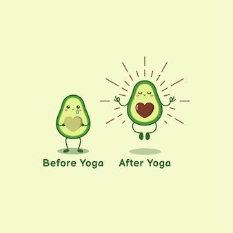 Avocat mignon avant après le yoga