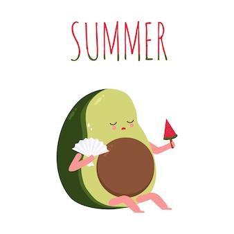 Avocat mignon en dessin animé d'été. avocat avec glace à la pastèque et éventail