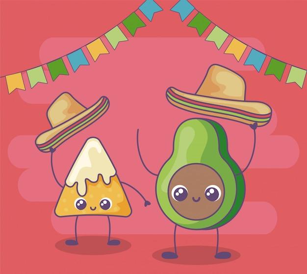 Avocat et nacho avec chapeau mexicain kawaii