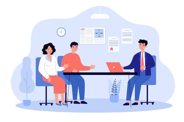 Avocat parlant aux clients illustration plate
