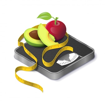 Avocat, pomme et ruban de mesure sur une échelle de poids isométrique réaliste. perte de poids et régime alimentaire