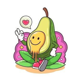 Avocat de sourire mignon avec dessin animé d'amour.