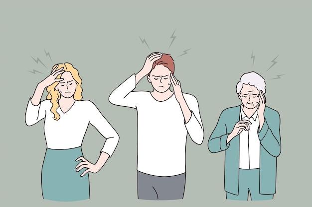 Avoir le concept de mal de tête et de douleur