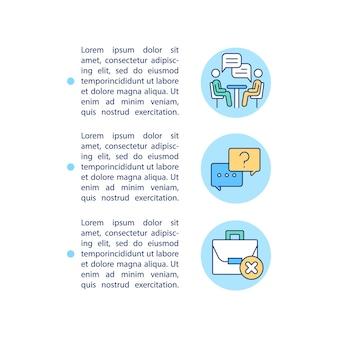 Avoir des icônes de ligne de concept d'entretien de sortie avec un modèle de texte