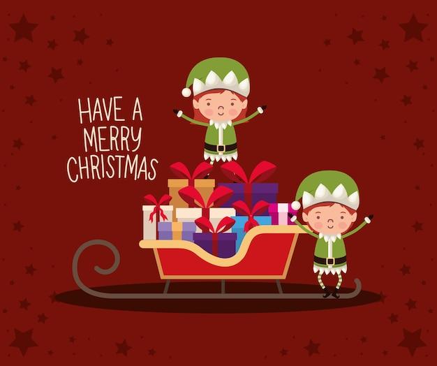 Avoir un lettrage joyeux christamas avec des coffrets cadeaux et un arc rouge sur un traîneau.