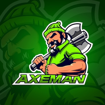 Axeman logo gaming e sport avec couleur vert clair