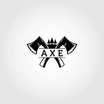 Axes de logo de bûcheron croisés vecteur élément de conception pour la bannière de signe d'emblème d'affiche
