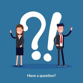 Ayez un concept de question. personnes demandant au centre d'assistance en ligne.